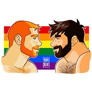 Bobo Bear - Adam and Ben profiles gay pride - horizontal