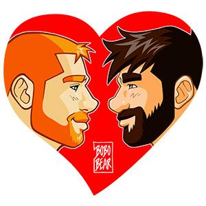 Bobo Bear - Adam and Ben profiles - red heart