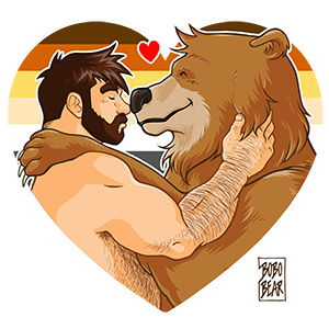 Bobo Bear - Adam and Bobo like cuddles - bear pride heart
