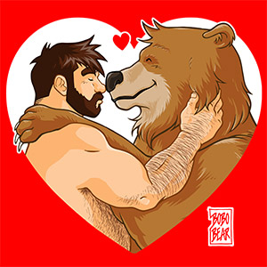 Bobo Bear: Adam and Bobo like cuddles - heart