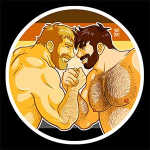 Bobo Bear - Adam and Mike like arm wrestling - bear pride
