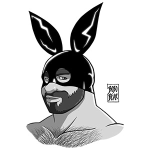 Bobo Bear - Adam likes bunnies - black and white