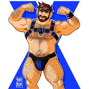 Bobo Bear - Adam likes harness - blue X