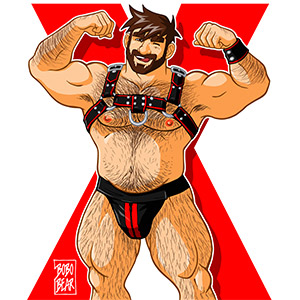 Bobo Bear - Adam likes harness - red X