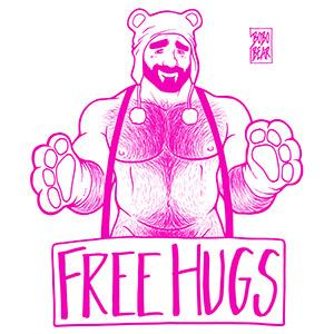 Bobo Bear - Adam likes hugs - pink lineart