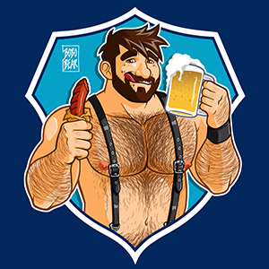 Bobo Bear - Adam likes sausage and beer - blue background