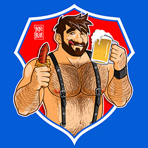 Bobo Bear - Adam likes sausage and beer - red background