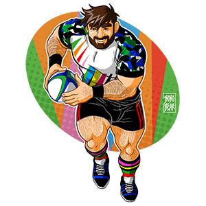 Bobo Bear - Adam likes to play rugby - bingham