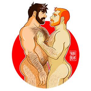 Bobo Bear - Adam loves Ben - red background