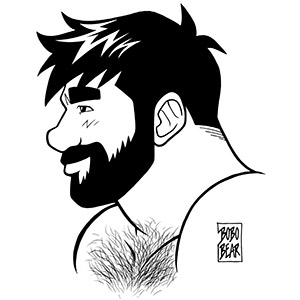 Bobo Bear: Adam profile - black lineart