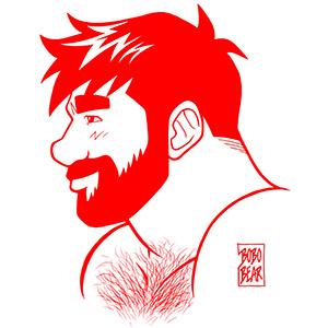 Bobo Bear - Adam profile - red lineart