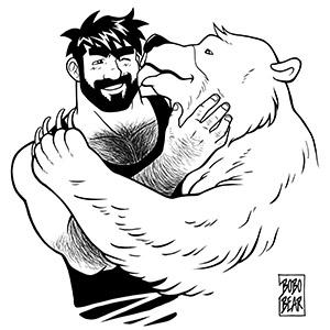 Bobo Bear: Bear kiss - black lineart