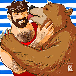 Bobo Bear - Bear kiss - blue stripes