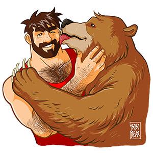 Bobo Bear - Bear kiss - no background