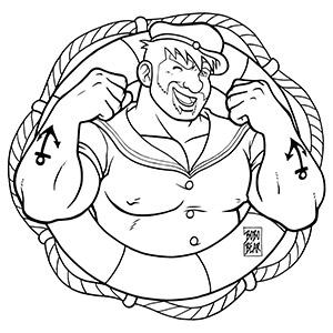 Bobo Bear: Adam likes sailors - lineart