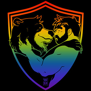 Bobo Bear: Adam and Bobo like cuddles - Gay pride lineart