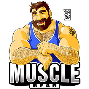 Bobo Bear: Muscle Bear . Blue tank top