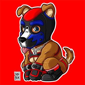 Bobo Bear - PLAYFUL PUPPY - BLUE RED MASK