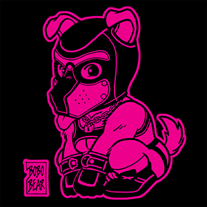 Bobo Bear - PLAYFUL PUPPY LINEART - PINK ON BLACK