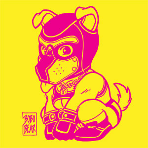 Bobo Bear - PLAYFUL PUPPY LINEART - PINK ON YELLOW